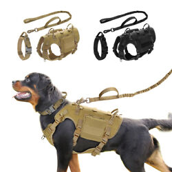 Military Dog Collar Harness With Leash Set Tactical Training Dog Vest And Pouches