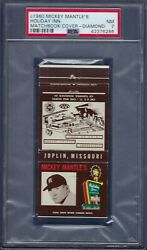 1960 Mantle's Holiday Inn Matchbook Cover Psa 7 Near Mint - 1 Of 2 And None Higher
