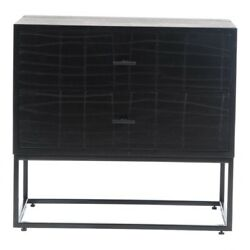 23.5 W Black Nightstand Textured Front Solid Acacia Wood Iron Base Modern