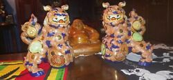 Two 2 Vintage/antique Chinese Blue Peacock Foo Dogs 10 T