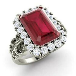 Natural 3.10 Ct Ruby Gemstone Wedding Rings 14k Solid White Gold Womenand039s Rings