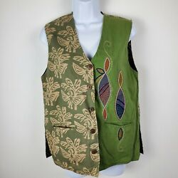 Market Place Reversible Black Green Brown Embroidered Vest Boho Hippie Small