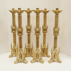 Set Of 6 Brass 18 1/4 Traditional Ornate Gothic Church Altar Candlesticks -111