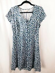 Band of Gypsies Large L Sundress Floral Navy Cap Sleeve White