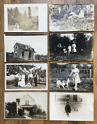 Antique Lot Of 8 Black And White Real Photo Postcards Family House Picnic Dogs