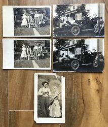 Antique Lot Of 5 Black And White Real Photo Postcards Family Log Cabin Rifle Car