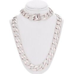 Men's 10k White Gold Light Weight Cuban Necklace Link Chain 26 13mm 68.1 Grams