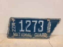 Vintage 1953 Tennessee National Guard License Plate Original Paint