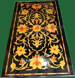 30 X 60 Inches Flower Art Dining Table Top Black Marble Conference Table Top