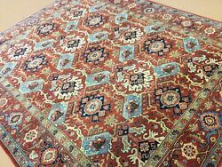 8andrsquo X 10andrsquo Rust Light Blue Fine Geometric All-over Hand Knotted Wool Oriental Rug
