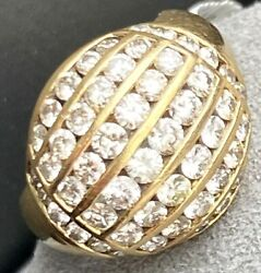 18k Yellow Gold Channel-set Diamond Vintage Cocktail Bombe Domed Ring Size 5.5