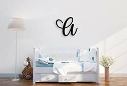 Giant Wall Decor Letters Uppercase A 24quot; Wood Paintable Script Capital Lett...