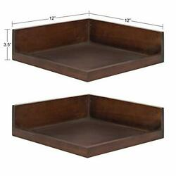 Kate And Laurel Levie Modern Floating Corner Wood Wall Shelves 12 X 12 Inches...