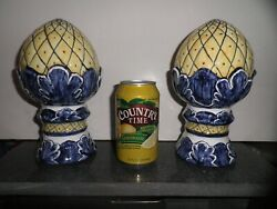 Lis Ceramica Brasil Blue And Yellow Hand Painted 2 Pc Finials