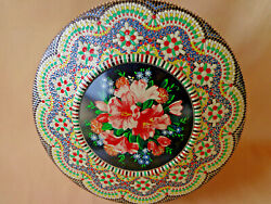 Vintage Metal Tin Floral Center Embossed Mosaic Surround Made In Holland Round