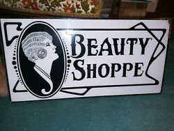 1920and039s Antique Porcelain Beauty Shoppe Shop Double Sided Advertising Sign