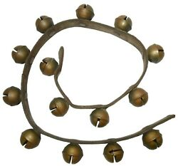 Late 19th-early 20th C American Antique 14 Pc Brass Sleigh Bells W/leather Strap