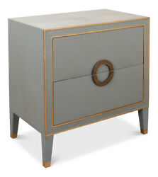 30 W Set Of 2 Night Stand Shagreen Leather Gold Piping Hand Embossed Paper