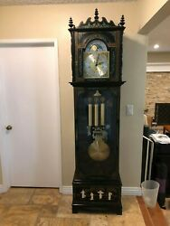 Grandfather Clock Asian Chinese Hand Painted Mother Of Pearl Kieneinger Movement