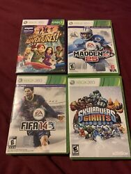 Lot Of 4 Xbox 360 Video Games- Madden, Fifa, Kinect, Sky Landers