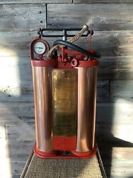 Vintage Lafrance Fire Truck Backpack Fire Hose Copper/brass Nozzle Rare