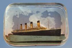 White Star Line Rms Olympic Titanic Era Glass Barbers Shop Paperweight C-1920