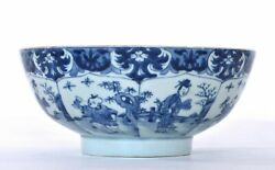 17th Century Chinese Blue And White Porcelain Bowl Lady And Boy Figurine Figure