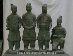 20.4 Collect Old China Bronze Ware Dynasty Palace Terracotta Warriors 4 Pcs Set