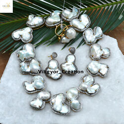 Diamond Pearl Choker Necklace 925 Sterling Silver Pearl Earrings Ring Set Gift