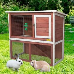 Wooden Chicken Coop Hen House 36quot; Rabbit Wood Hutch Poultry Cage Habitat Red