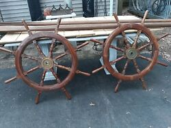 Pair Nautical Antique Style Wooden Ships Wheels 20th Century .