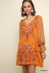 Sml Umgee Pumpkin Floral Embroidered Long Sleeve V-neck Dress/tunic Bhcs