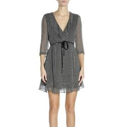 Patrizia Pepe Women's Dress Suit Summer Black Patterned V-neck Rouched Italy