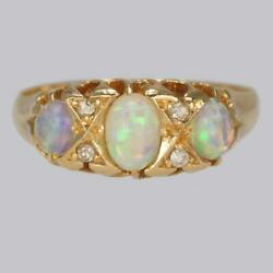 Victorian Opal And Old Cut Diamond Ring 18ct Gold Antique Trilogy Ring Circa 1890