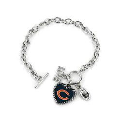 Chicago Bears Charmed Bracelet Love And Football [new] Nfl Wrist Jewelry