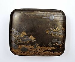 1900's Japanese Makie Wood Lacquer Box Chrysanthemum And Figure Village Scene