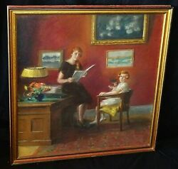 1925 Us Pastel Painting Interior W. Mother And Daughter By Illegibly Signed Scd