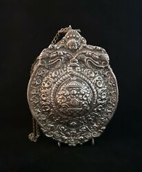 Rare Antique Powder Flask 18th Century Russian Silver Plated Powder Flask