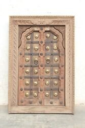 New Hand Carved Wooden Jharokha Window Wall Hanging Panel Rustic Wall Decor Bn27