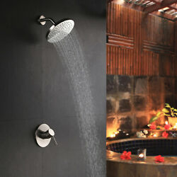 Modern Wall Mount 8 Inch Rain Showerhead Only Shower System Set Brushed Nickel