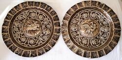 Pair Of Trays. Punched Silver. Spain. Xviii-xix Centuries