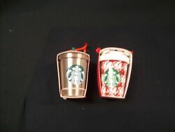 Lot Of 2 Nwt 2018 Starbucks Steel Rose Gold Cold Cup Ceramic Hot Cup Ornaments