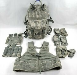 Us Army Acu Molle Padded Assault Pack W/stiffener+rifleman=vest+pouch Lot