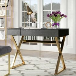 Computer Writing Desk Home Office Laptop Modern 3 Drawers Wood Gold Table Home