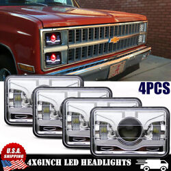 4x6 Red Demon Hi-lo Beam Led Headlight For Chevy C10 Pickup 81-1987 Ford Truck