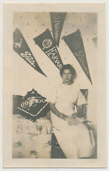 COLLEGE GIRL READING in DORM ROOM Yale HARVARD Princeton PENNANTS vtg 10#x27;s photo