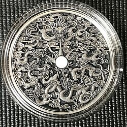 Niue 2020 5 Chinese Legends Nine Dragons 2 Oz Antique Silver Coin.