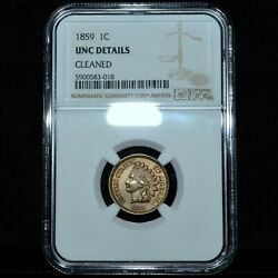 1859 Copper Nickel Cent ✪ Ngc Unc Details ✪ 1c Indian Head Uncirculated◢trusted◣