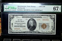 1929 20 National Bank Note ✪ 1st Nb Of Morristown ✪ Nj 1188 Pmg 67-epq◢trusted◣