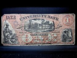 1861 1 Obsolete Bank-note ✪ University Bank ✪ Notre Dame Indiana In ◢trusted◣